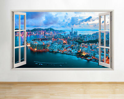 Wall Stickers City Night Lights Sky Neon Smashed Decal 3D Art Vinyl Room AA774