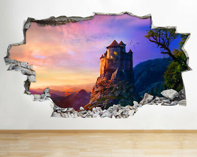 BB500 Japan Castle Cherry Blossom Smashed Wall Decal 3D Art Stickers Vinyl Room