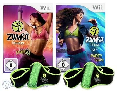 Wii Zumba Fitness Join Party + Party yourself into Shape + 2 Hüftgürtel + OVP