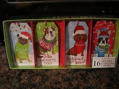 Christmas Holiday Gift Tags DACHSHUND Dog PUG TERRIER BULLDOG NEW