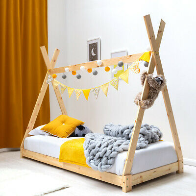 Kids Childrens Wooden Tent Tipi House Canopy Single Bed White / Natural Pine