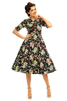Ladies Retro Vintage 1940's Inspired Swing Long Sleeve Shirt Dress Floral