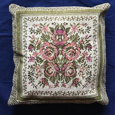 "Vintage Needlepoint Embroidered Throw Pillow Flowers Roses Wool  14"" x 14"