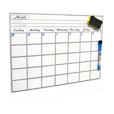 A3 Reminder Fridge Magnetic Whiteboard Memo Note Monthly Planner 3 Writting Pens