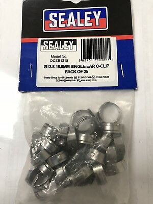 Sealey 25 Pack 13.8-15.8mm Single Ear O-Clip