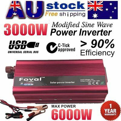 6000W MAX 3000W DC 12V to AC 240V Car Home Power Inverter Charger Converter  MM