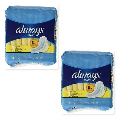 2 Pack Always Pads Size 1 Maxi 18 Count Regular