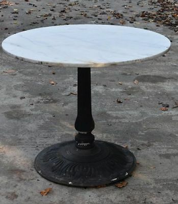 Marble Top Garden Table with Iron Base, Top is old, base is modern.