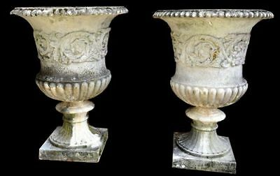 Antique Pair English Cast Stone Garden Urns Early 20th Century