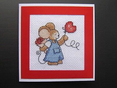 """Completed cross stitch card. Mouse, flowers, heart balloon. Blank. 4.2""""x4.2"""""""