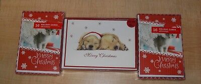 Christmas Card Lot ~ 3 Boxes ~ Dogs & Cats ~ 50 Cards