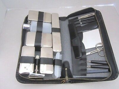 Vintage Leather Men's Travel & Groom Toiletry Kit Set Antique. W Germany. Silver