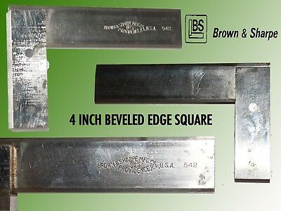 Brown & Sharpe #542 4 Inch Machinist Hardened Beveled Edge Steel Square