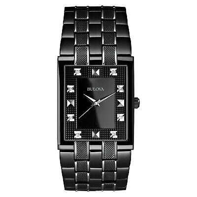 Bulova Men's 98D111 Quartz Diamond Accents Black Bracelet 30mm Watch