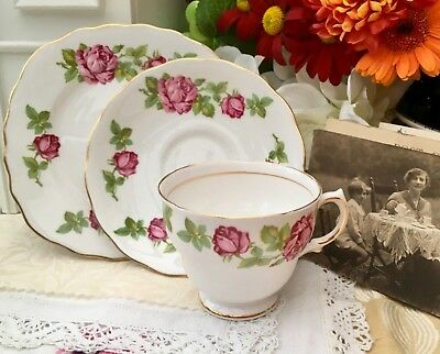 ROYAL VALE 1960s TRIO CUP SAUCER PLATE SET - PAINTERLY PINK ROSE BONE CHINA