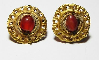 Zurqieh - As8588- Ancient Roman Pair Of Gold Earrings. 100 - 200 .ad