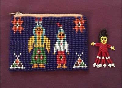 Vintage Native American beaded Coin Purse/Change bag