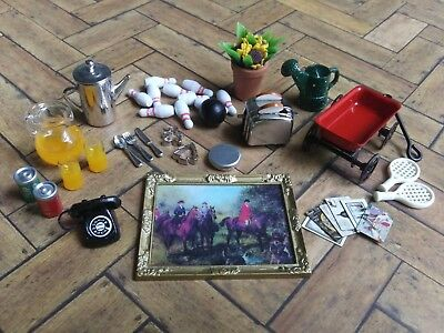Dollhouse Miniature Home Decor Lot *Toys Breakfast Items Phone Picture Frame*