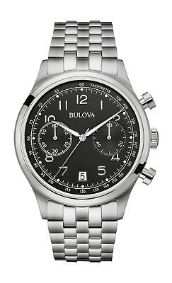 Bulova Women's Quartz Chronograph Black Dial Silver-Tone 43mm Watch 96B234