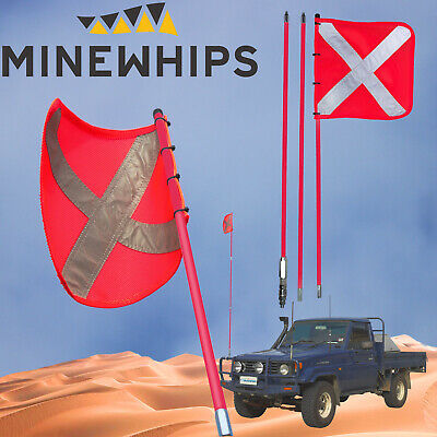 Mine Whip 3 Piece 3.0 Metre High Vis Safety Sand Dune Mining Flag + Mount 4X4