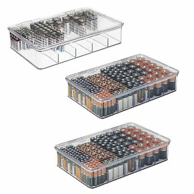 mDesign Stackable Divided Battery Storage Organizer Box with Lid, 3 Pack - Clear