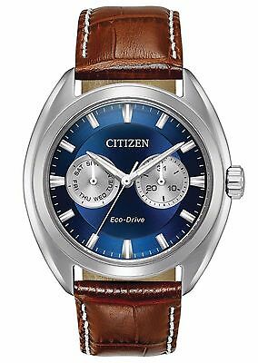 New Citizen BU4010-05L Men's Eco Drive Stainless Steel Brown Leather Strap Watch