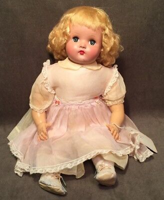 "Vintage Madame Alexander Little Genius 18"" 1940 Tagged Dress Blonde"