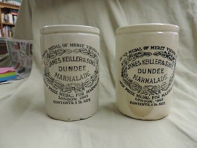 Two Vintage Dundee Orange Marmalade Jar Crock James Keiller And Sons