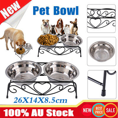 Double Pet Bowl Dog Cat Feeder Food Water Raised Lifted Stand Pair Elevated Twin