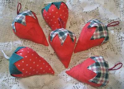 Set of 6 Handmade Prim Strawberry Red Fruit Bowl Filler Berry Ornie Wreath Tuck
