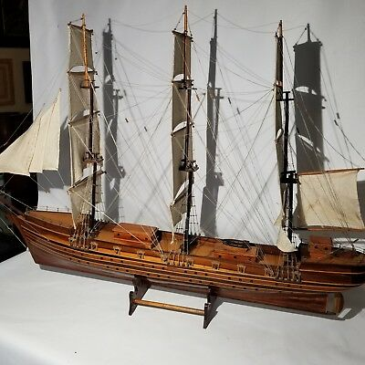 LARGE ANTIQUE MODEL TALL SHIP pond boat rosewood frigate