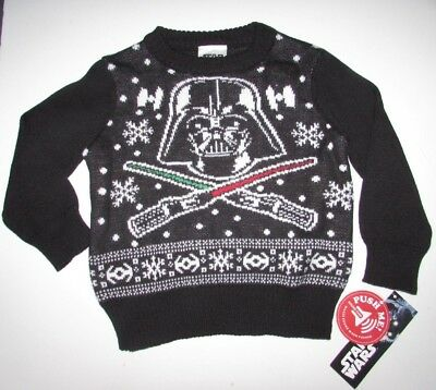 Star Wars Ugly Holiday Sweater Sz 12-18 mon 2, 2t black red Darth Vader music NW