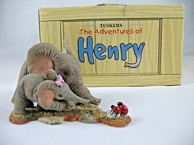 Tuskers Adventures of Henry Elephant Figurine & Henrietta Ladybugs Spotted You