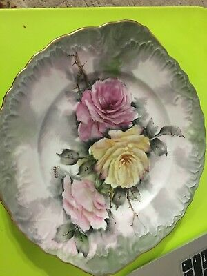 """Hand Painted Signed Porcelain Plates Pink Yellow Magenta Colors 10""""- 12"""""""