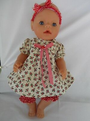 Handmade dolls clothes (Dress, pants, headband set) suit 17inch Baby Born doll