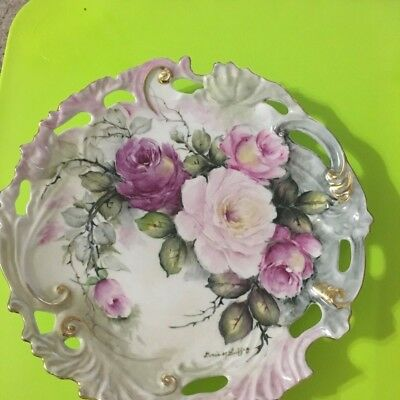 """Hand Painted Signed Porcelain Plate Pink Yellow Magenta Color 10"""" 14K Gold Trim"""