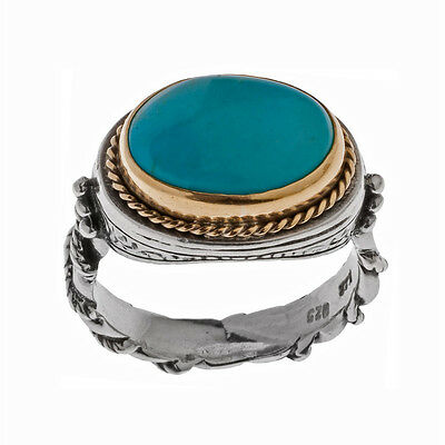 Savati ~ Solid Gold & Sterling Silver with Turquoise Byzantine Solitaire Ring