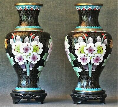 Vintage Pair Chinese Cloisonne Urns with Stands