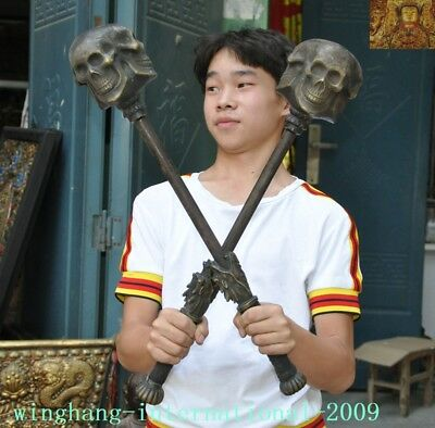 Rare Chinese Ancient Bronze Weaponry Arms weapon Dragon head Skull Meteor hammer