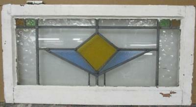 """OLD ENGLISH LEADED STAINED GLASS WINDOW TRANSOM Nice Geometric 28.75"""" x 15"""""""