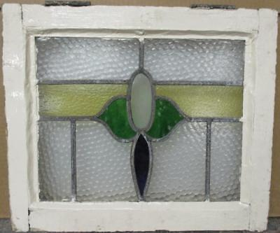 """OLD ENGLISH LEADED STAINED GLASS WINDOW Colorful Band Design 18.75"""" x 15.75"""""""