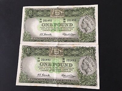 Australia 1 pounds  Coombs/Wilson 1961 X 2 consecutive , very nice banknotes