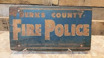 Reading Beer Berks County Fire Police License Plate Sign Tin Metal PA