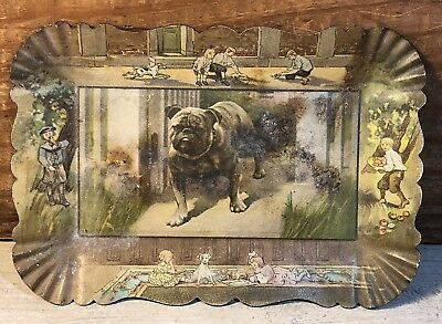 Vintage Tin Metal Tip Tray w/ Bulldog in the Center & Children Playing on Edges