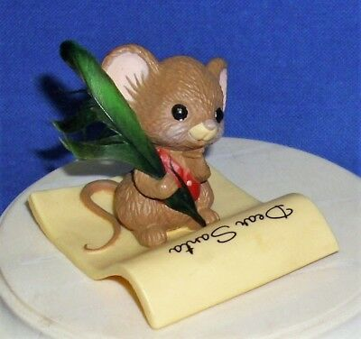 Hallmark Christmas Merry Miniatures Mouse 1982 Letter to Santa Feather Quill Pen