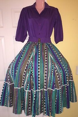 Square Dance Purple Top, Multi Striped Skirt & Belt-Medium
