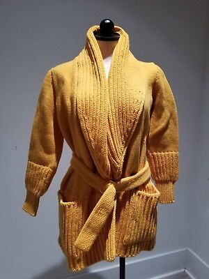 Vintage 70s VALENTINO Mustard Yellow Wool Knit Cardigan Sweater wounded sz.m-l