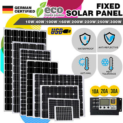 [15%OFF] 300W 250W 220W 200W 160W 100W Solar Panel Kit Fixed Mono 12V Controller