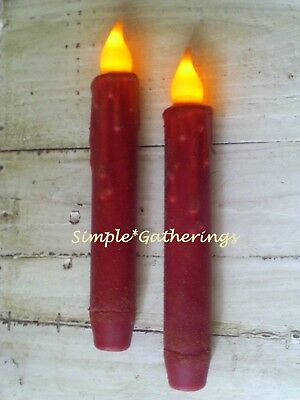 """2 RED TIMER TAPER CANDLES Grungy 6.5"""" Primitive Rustic Christmas Farmhouse"""