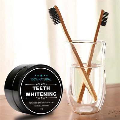 Activated Charcoal Teeth Whitening Powder Organic Carbon Coco 5g w/ Toothbrush